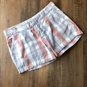 Old Navy pink, blue, and grey plaid shorts